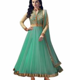 Buy Green net embroidered semi stitched salwar with dupatta eid-special-salwar-kameez online
