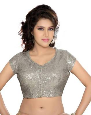 Silver Poly Silk Sequined Padded Stitched Blouse Choli Raised Neckline