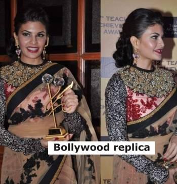 Jacqueline Fernandez Net Seqins work Bollywood style saree