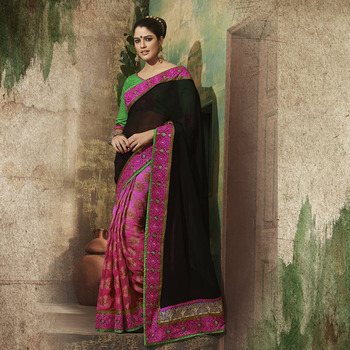Black and Magenta Designer Party wear Saree