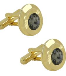 Buy Matte  Gold Plated Round Grey Cufflink Pair For Men gifts-for-boyfriend online