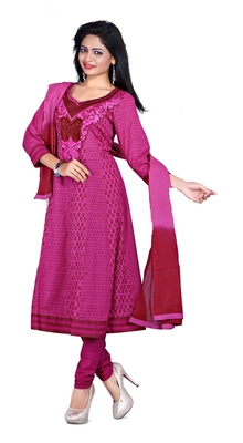NeelFab Magenta Cotton Anarkali Suit