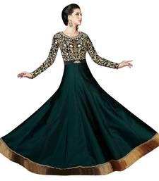Buy Dark Green art silk embroidered semi stitched salwar with dupatta anarkali-salwar-kameez online