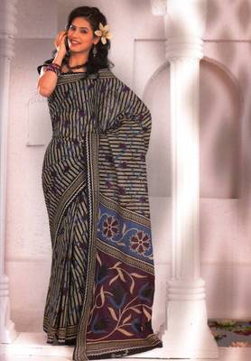 Saree Cambric Cotton Designer Prints With Blouse Piece D.No D1040