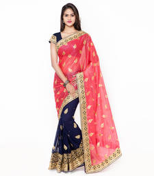 Buy Pink embroidered faux georgette saree with blouse half-saree online
