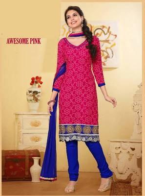 Flamboyant Pink and Navy Blue Salwar Kameez