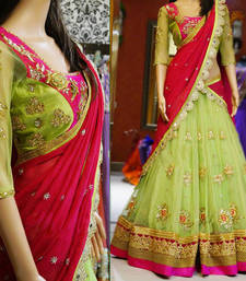 Buy Green embroidered net unstitched lehenga choli bridal-lehenga online