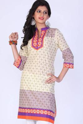 Cream Yellow Cotton Printed Casual and Party Kurti