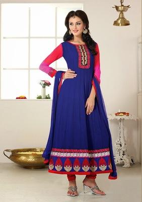 NeelFab Navy Blue Semistitched Anarkali Suit