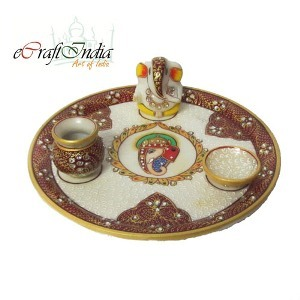 eCraftIndia Pooja Thali with Lord Ganesha, 1  Pot  and 1  Diya