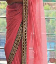 Buy Light peach embroidered georgette saree with blouse black-friday-deal-sale online