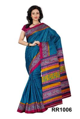 Riti Riwaz blue art silk saree with unstitched blouse RR1006