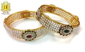 Pearl AD polki studded bracelets , pair