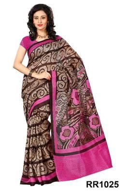 Riti Riwaz pink-brown art silk saree with unstitched blouse RR1025