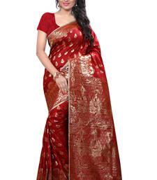 Buy Red printed banarasi saree with blouse banarasi-saree online