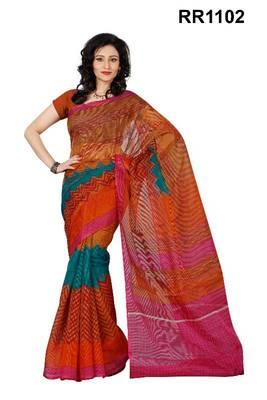 Riti Riwaz orange super net saree with unstitched blouse RR1102