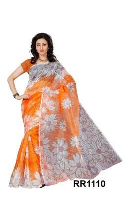 Riti Riwaz orange super net saree with unstitched blouse RR1110
