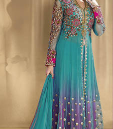 Buy Sea Green georgette embroidered semi_stitched salwar with dupatta party-wear-salwar-kameez online