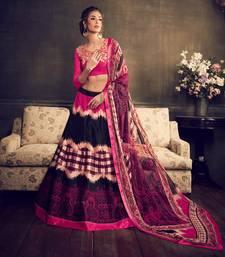 Buy Black and pink printed silk unstitched bridal-lehengas bridal-lehenga online