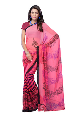Fabdeal Light Pink Colored Georgette Printed Saree