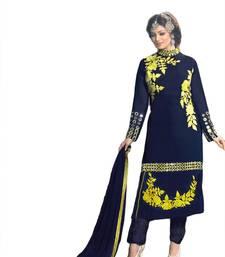 Buy Nevy blue georgette embroidered semi stitched salwar with dupatta ayesha-takia-salwar-kameez online