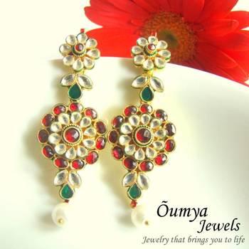 Red Kundan Flower Earrings
