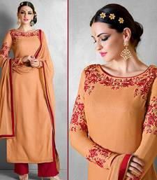 Buy Orange georgette embroidered semi stitched salwar with dupatta palazzo online