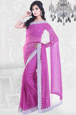 Fuchsia Pink Chiffon Georgette Embroidered Party and Festival Saree