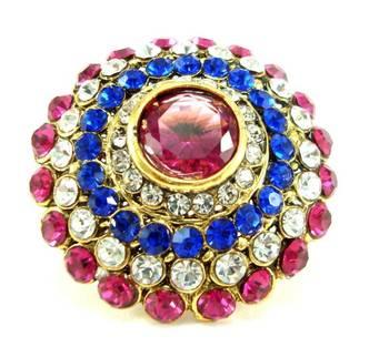 Bridal pink blue kundan adjustablr finger ring fr01