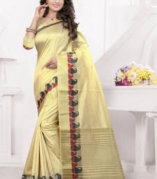 Buy Cream printed banarasi silk saree with blouse banarasi-silk-saree online