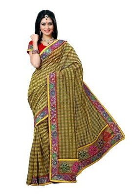Triveni Amazing Checkered Patterned Cotton Saree TSN6008