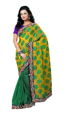 Triveni Paisely & Floral Embroidered Border Work Sari TSN6012