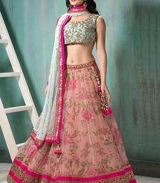 Buy Bikaw Embroidered With Embellished Pink Net Traditional Wedding Wear Lehenga Choli Set. - BT-1532 navratri-lehenga-chaniya-choli online