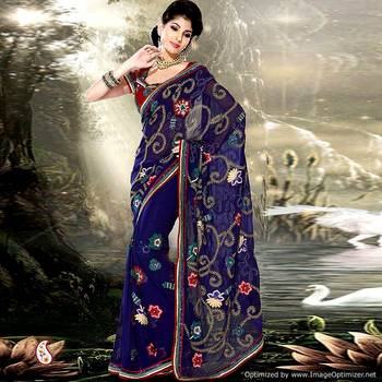 Navy Blue Embroidery Faux Georgette Net Sari