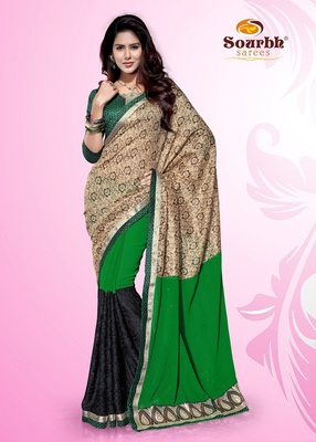 Splendid Green and Beige Faux Chiffon and Brasso Party Wear Saree