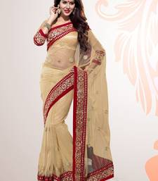 Buy Beige Embroidered Net Party Wear Saree With Blouse black-friday-deal-sale online