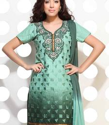 Buy Double shaded green embroidered suit dress-material online