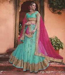 Buy Sea blue embroidered net unstitched bridal lehengas bridal-lehenga online