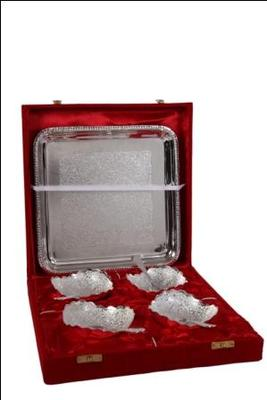 German Silver 4 Leaf Bowl Dinner Set with Tray