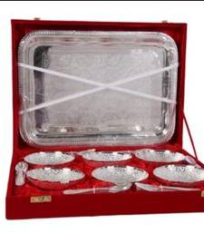 Buy German Silver 6 Bowl Dinner Set with Tray other-home-accessory online