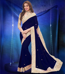 Buy Navy Blue plain georgette saree with blouse georgette-saree online