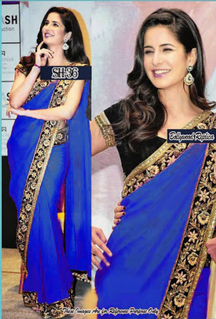 buy katrina kaif new royal blue saree online