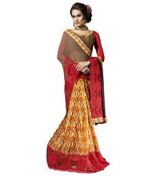 Buy Brown printed faux georgette saree with blouse georgette-saree online