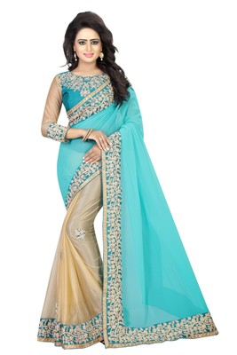 Teal embroidered Coding Work chiffon saree with blouse