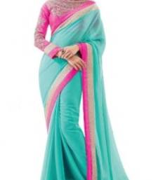 Buy Blue plain chiffon saree with blouse below-1500 online