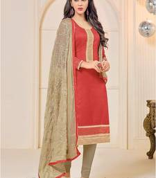 Buy Red chanderi embroidered semi stitiched pakistani salwar suit eid-special-salwar-kameez online