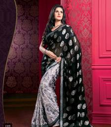 Buy Black Chiffon Zareen Khan Designer Saree .. zarine-khan-saree online
