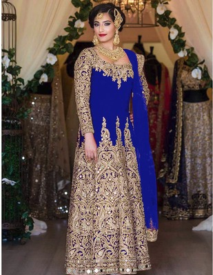 Blue silk semi stitched salwar with dupatta