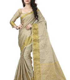 Buy Beige woven art silk saree with blouse ethnic-saree online