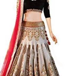 Buy cream embroidered net unstitched lehenga ghagra-choli online